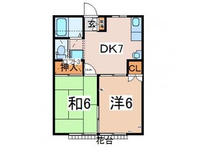 米沢市杉の目町賃貸アパート2DK|ハイツグリーングラスB