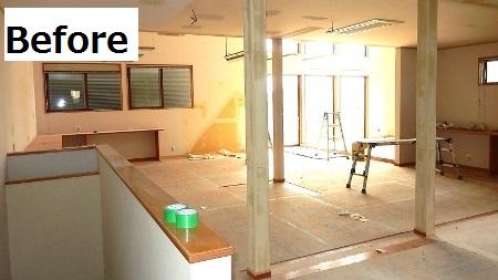2F事務所、クロス・クッションフロアを設置すれば工事終了!