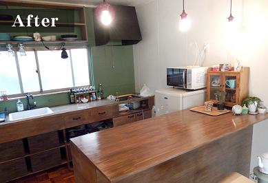 カウンター設置後のキッチン