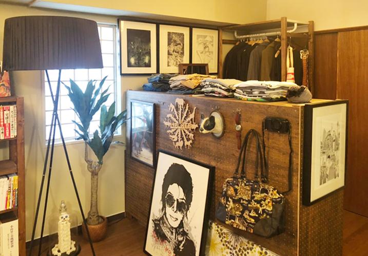 レトロマンションのリノベーションお引き渡し後 古材を利用したカウンター風の棚