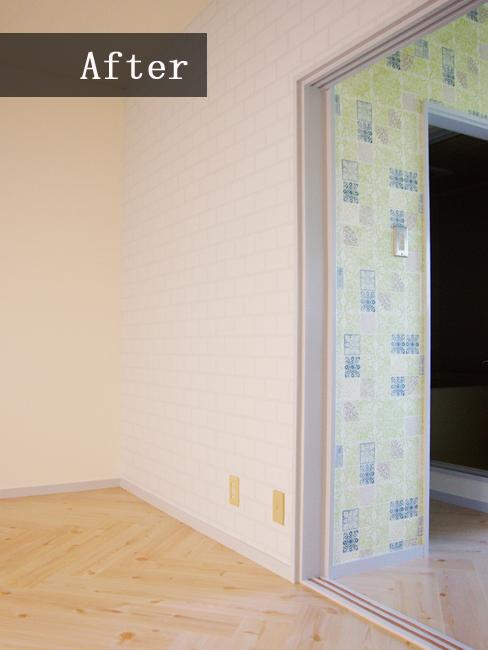 リビングの一面には白レンガ風の壁紙でナチュラル感を♪家具などの使い方で可愛らしくも、スタイリッシュにもお使いいただけます!