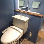 いままでにないオシャレなトイレ!このスペースを確保するため、壁の撤去や間取の変更もしています。