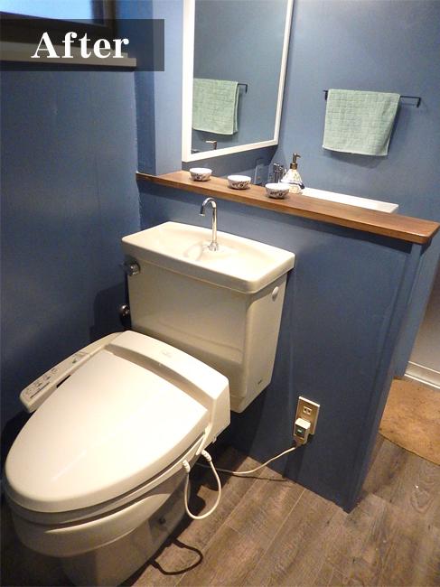 こんなにオシャレなお手洗いを見たことがない!壁紙の色が上品さを演出しています。