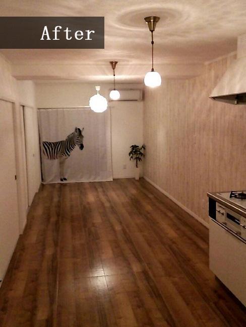 リビングはフルリフォーム!キッチンとの間にあったふすまを取り払うことで開放感も出ました!リフォーム前と同じお部屋とは思えませんね♪