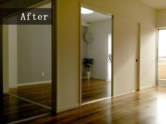 ふすまを1つ取り払い広々空間が完成!壁やフロアも見違えるリフォームでお客様の理想通りの空間ができました!