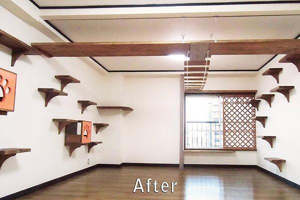 間取やフローリング、壁紙の変更で広々としたオシャレな洋室に
